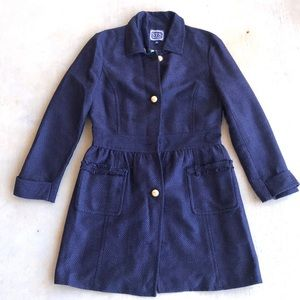 Sail To Sable Navy Blue Tweed Coat With Gold